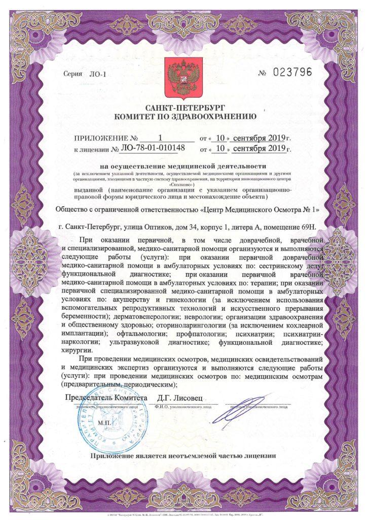 Лицензия на осуществление медицинской деятельности Центр Медицинского Осмотра №1 - приложение